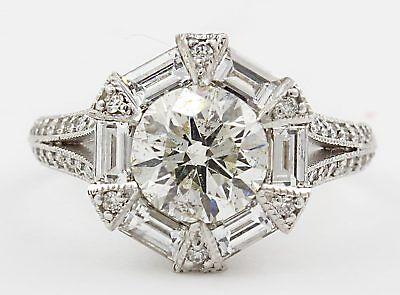 3.30 carat Round Brilliant GIA Certified Diamond Engagement Vintage Style Rin...