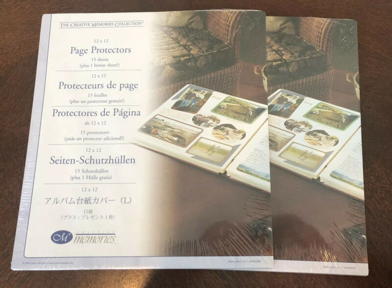 Creative Memories 12x12 Page Protectors 2004 15 Sheets Each Set Of 2 Packs New
