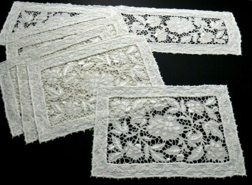 Italian Embroidery Lace Placemats/Runner 7pcs.Lavish Intricate Handwork, Vintage