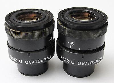 Pair Nikon Smz-u Uw 10x A 24 Microscope Eyepieces Ultra Wide Smz