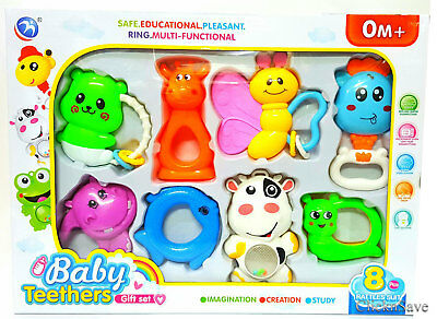 8pcs Baby Rattle and Teether Easy Grip, Baby Toy Baby Activity Toys 0M+Gift Set