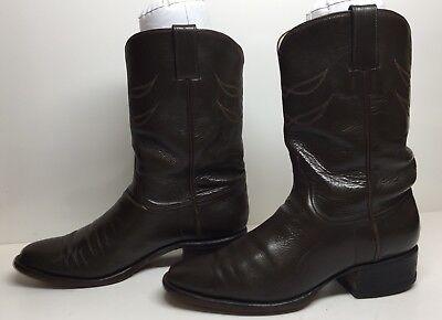 Austin Mens Brown Boots (#C MENS AUSTIN-HALL HANDMADE COWBOY LEATHER DARK BROWN BOOTS SIZE ? )