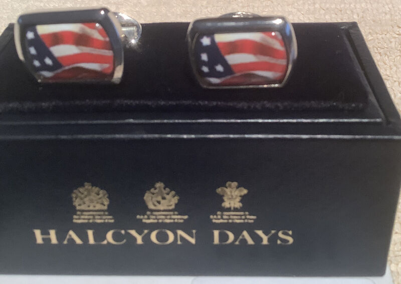 Halcyon Days enamels rectangle men's cufflinks USA flag NIB Silver