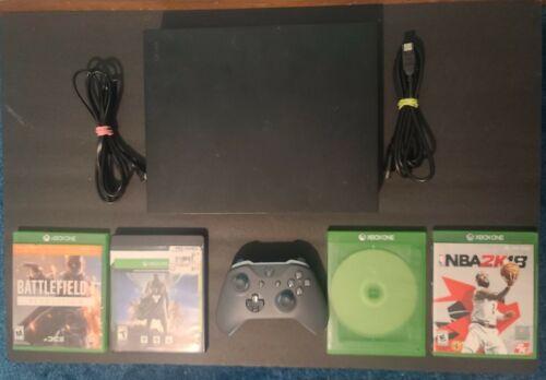 Microsoft Xbox One X 1TB Console Black Bundle W/ Blue/Gray Controller 4 Games - $314.99