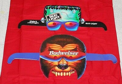 original BUDWEISER Bud Light beer HALLOWEEN MASK lot x2 Frankenstein Wolfman