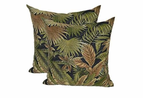 """Set of 2 - Square Throw Pillows - 20"""" In/Outdoor Black Green"""