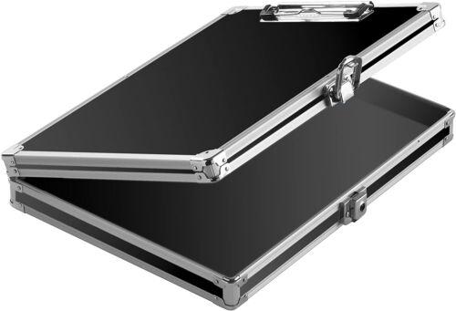 Slim Aluminum Storage Police Clipboard Solid Briefcase Letter Size Case Black