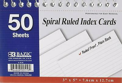 Spiral Bound 3 Inch X 5 Inch Ruled White Index Card - 50 Sheets