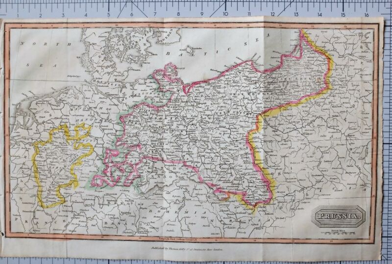 1822 ANTIQUE MAP PRUSSIA with HAND COLOUR