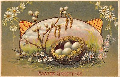 Easter~Egg Nest in Art Nouveau Meadow Portal~Daisies~Pussy Willows~Olive Green Nouveau Willow Green
