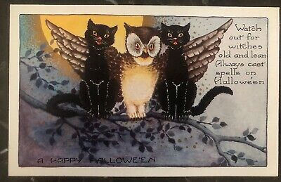 Mint Vintage USA Picture Postcard PPC Watch Our For Witches Halloween - Halloween Movie Watching