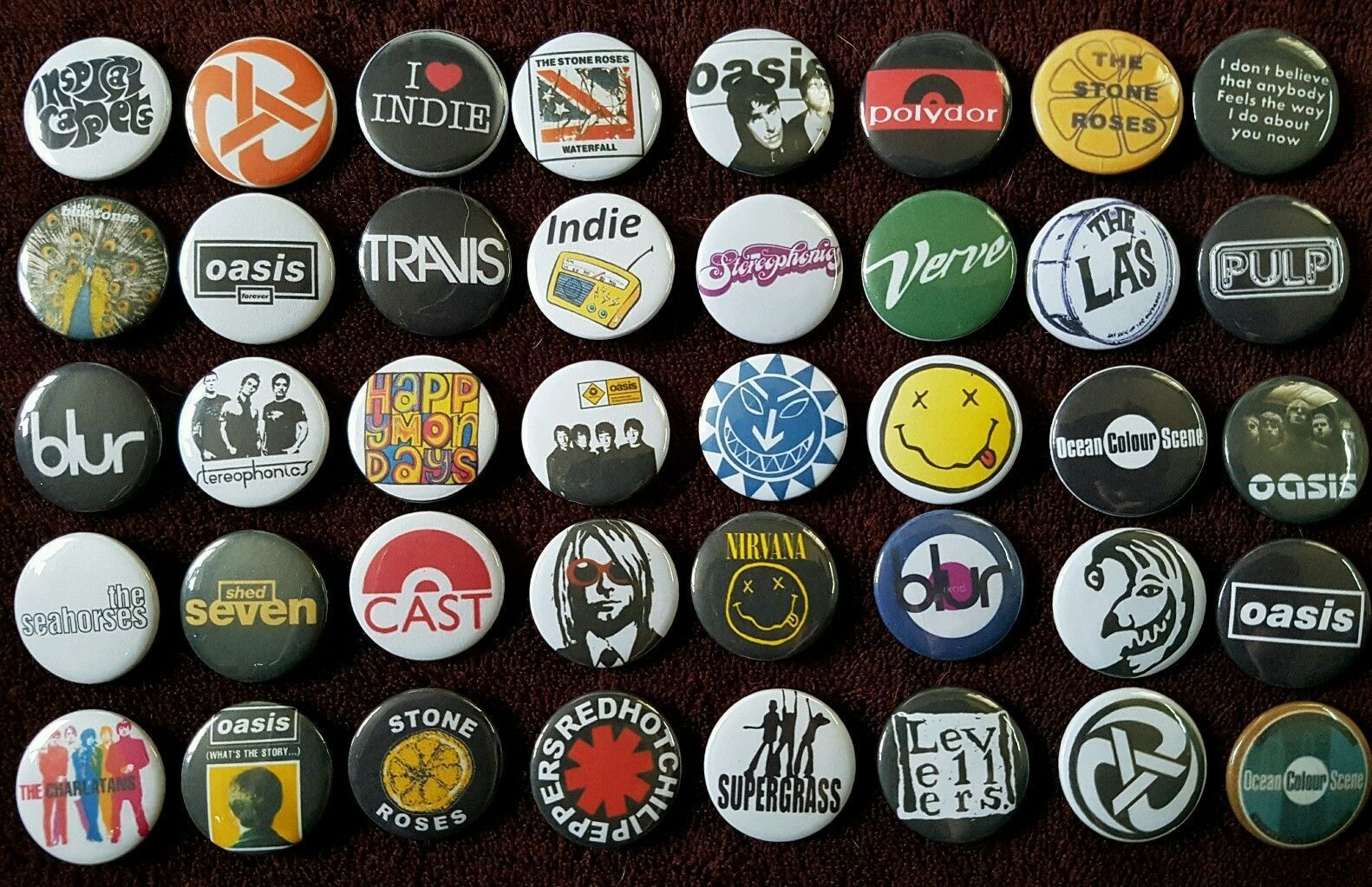 Indie Rock 90's Button Badges (Collection 1). Pins. Collector  25mm in Size. :0)