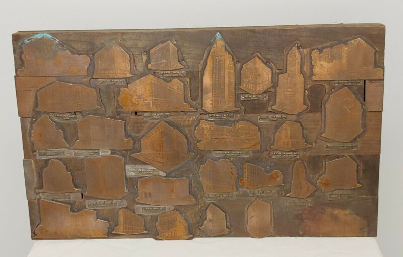 Vintage Brass Copper Printing Plate Printers Blocks HOTELS - Wall Hanging