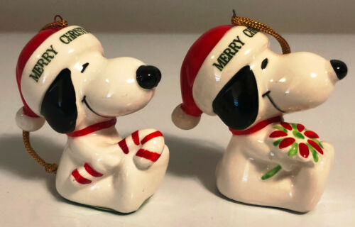 Peanuts SNOOPY 1977 Christmas Ornaments Lot of 2 Vintage Porcelain