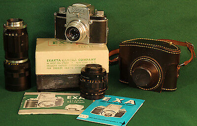 Exa Kit (VINTAGE IHAGEE EXA REFLEX CAMERA KIT w/ ORIGINAL BOX & MANUAL, CASE, 3)
