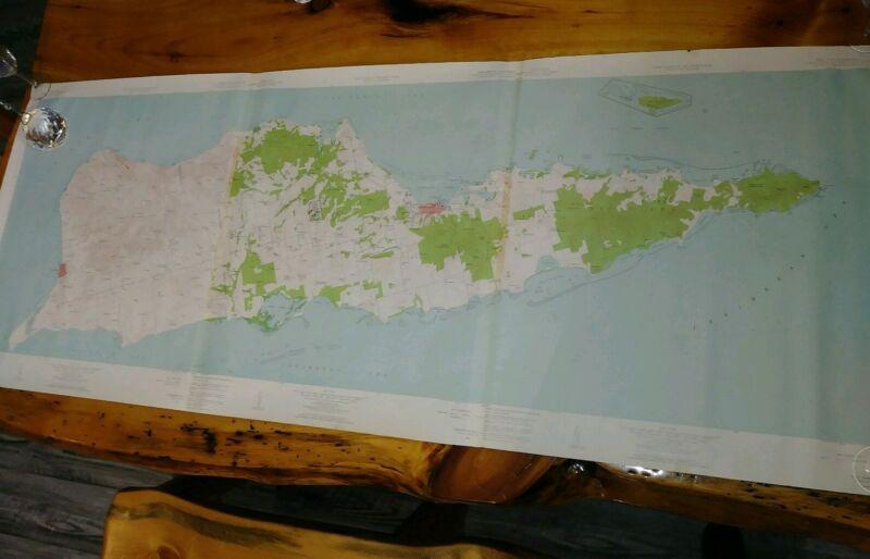 "Virgin Islands - Geological Survey Map Vintage 27""x 67"""