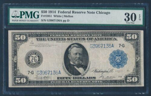 Fr1051 $50 1914 Chicago Frn Pmg 30 Epq Very Fine Hw4327