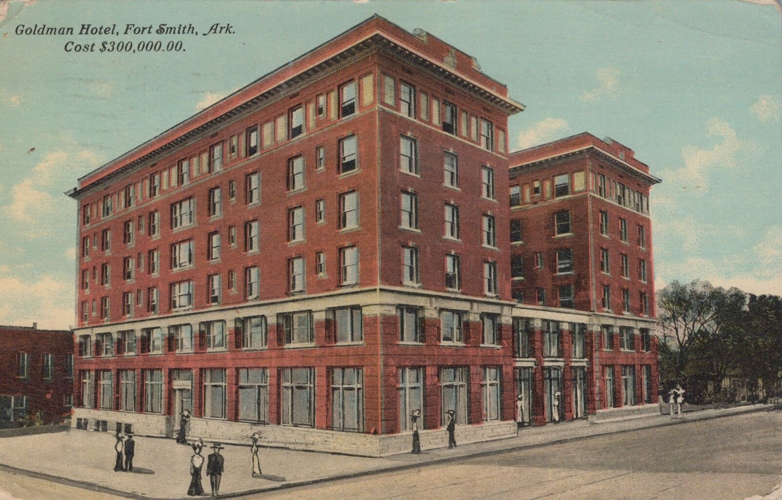 Postcard Fort Smith AR Goldman Hotel Cost $300,000 Early 1900s