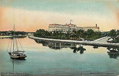 Florida, FL, Miami, Royal Palm, Sailboat 1910's Postcard