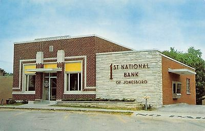 Jonesboro Illinois First National Bank Drive Up Window 1960S Postcard