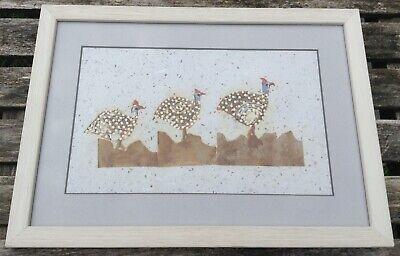 Original Mixed Media Art Painting Decoupage Collage F&G hen turkey pheasant bird