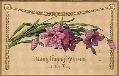 Many Happy Returns Of The Day 1911 Greetings Embossed Postcard Flowers Gold