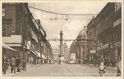 Newcastle on Tyne Grainger Street Greys Monument Vintage Postcard 19.3