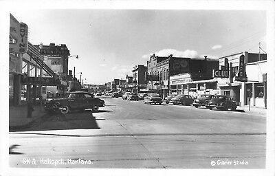 Kalispell MT Main~Opera House~Cafe Mayflower~Vista Club~Moving~Kelly's RPPC 1954 for sale  Shipping to Canada