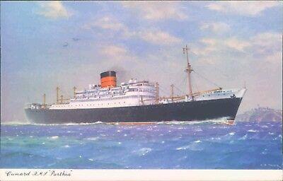 Postcard Shipping Cunard  R.M.S Parthia   unposted