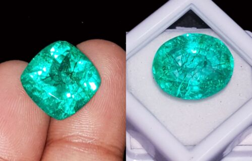 Certified Loose Gemstones Natural Emeralds 8 to 10 Cts 2 Pieces RK53