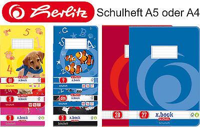 3x Schulheft , DIN A5 oder A4, verschiedene Lineaturen,  3er Sparpacks
