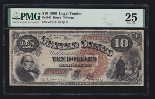 US 1880 $10 Legal Tender Jackass FR 102 PMG 25 VF (122)