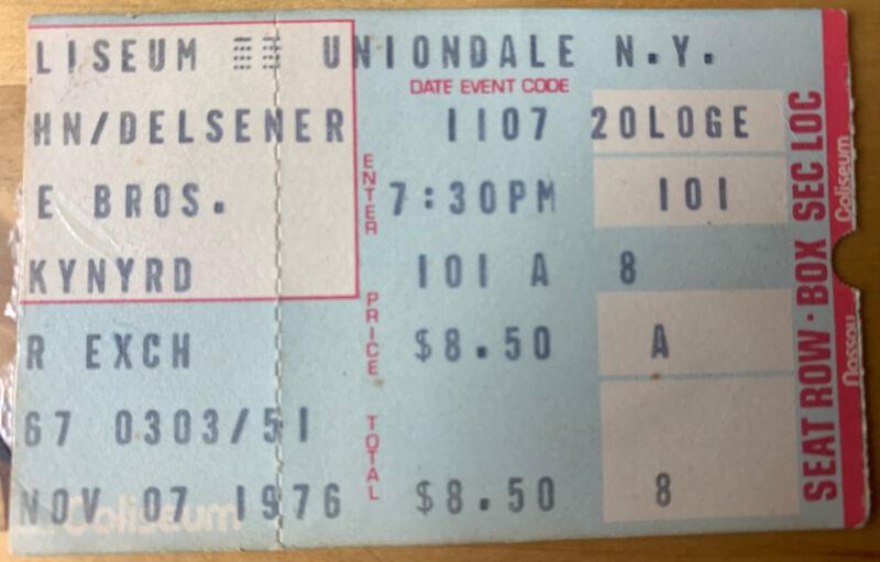 1976 Lynyrd Skynyrd Doobie Bro Nassau Coliseum NYC Concert Ticket Stub 11/7/76