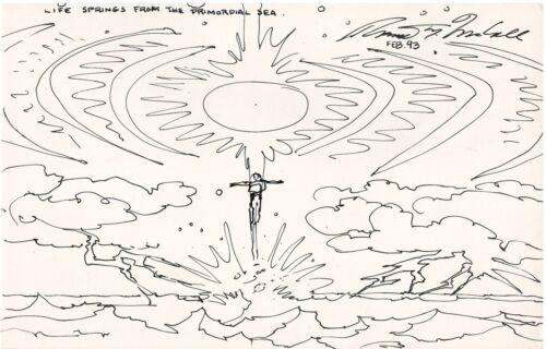 "Robert McCall Hand Drawn Sketch on 10"" x 7"" Cardboard Signed w/COA"