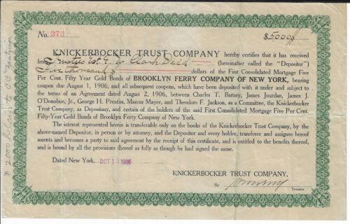 NEW YORK 1906 Brooklyn Ferry Company of New York Bond Stock Certificate RARE