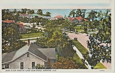1920's Bird's Eye View of Lake View Drive in Sebring, FL Florida PC
