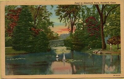 1951 Pond in Elizabeth Park Boats Hartford Connecticut CT Postcard C7