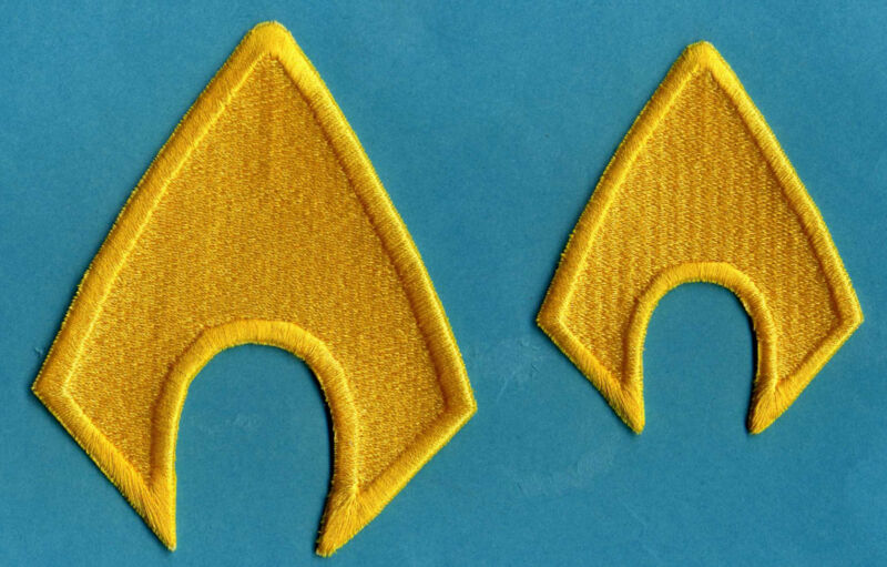 AQUAMAN  Fully Embroidered Yellow Insignia Iron-on Patch Set [of 2]