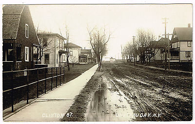 RPPC NY Clinton Street, Chateaugay, New York Adirondack Foothills