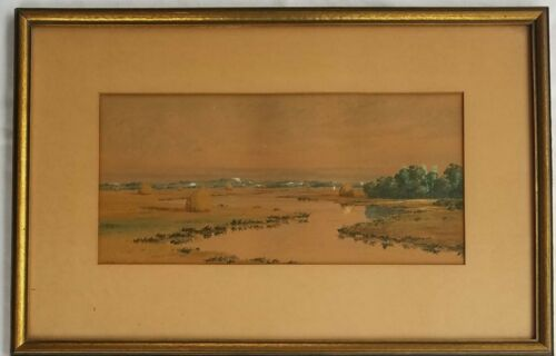 19th C Gouache/watercolor Landscape Signed Rogers