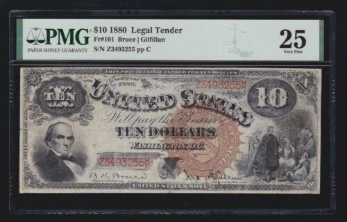 US 1880 $10 Legal Tender Jackass FR 101 PMG 25 VF (255)