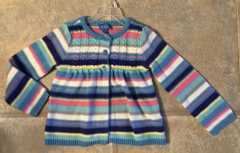 Children's Place Girl's Size 4T Beautiful Blue & Striped Cardigan Sweater
