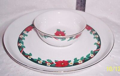 (CHIP & DIP PLATE SET 2 PCS. - APPETIZERS - HOLIDAY POINSETTIA HOLLY LEAVES = NEW)