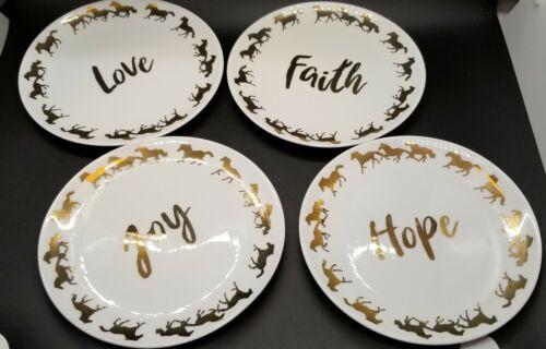 love faith joy hope dish plates gold letters gold horses