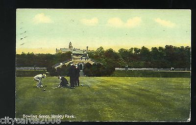 HANLEY  BOWLS   Hanley Park    Bowling Green with players coloured