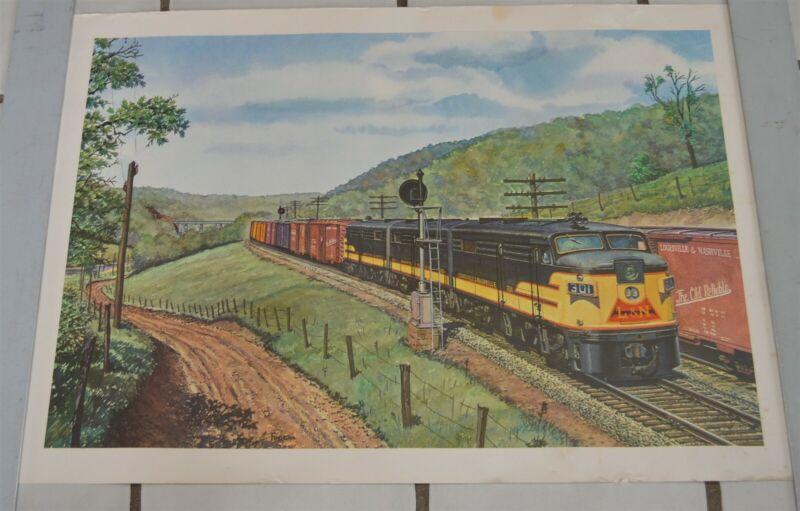 Louisville & Nashville Vintage Print #301 Diesel Engine Freight Train