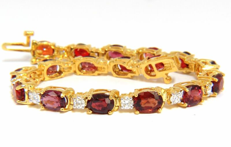 14.81ct Natural No Heat Red Spinel Diamonds Tennis Bracelet 14kt Unheated+