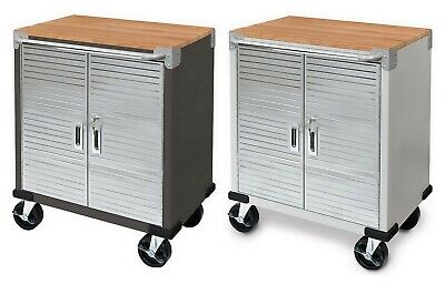 Rolling Tool Chest Stainless Steel 2 Door Metal Storage Cabinet Wood Top Chest Wood Top
