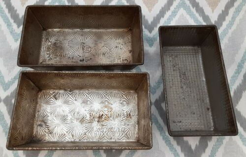 Vintage Lot/3 Patterned Bread Pans Starburst Waffle Ovenex Bakerex Crownware USA