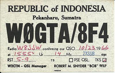 OLD VINTAGE W0GTA/8F4 REPUBLIC OF INDONESIA AMATEUR RADIO QSL CARD
